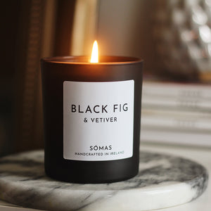 natural soy wax candle made in Ireland, black fig candle, fig soy candle, black candle