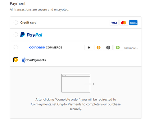 Select Coinbase or CoinPayments