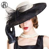 FS Black And White Large Wide Brim Bowknot Kentucky Derby Hats Fashion Woman Elegant Summer British Style Linen Fedoras