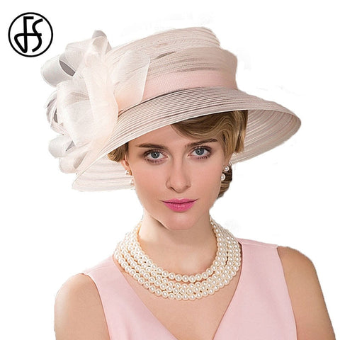 FS Wide Brim Ladies Hats Wedding Bowknot Feather Fedoras Pink Kentucky Derby Hoeden Summer Church Hat For Women