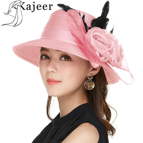 Kajeer Elegant Women Summer Autumn Bucket Hats Female Big Feather Mesh Decorate Bowler Church Hat Pink Net Yarn Hats Cap UV rays