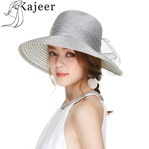 Kajeer Brim Foldable Wedding Dress Church Hat Beach Summer Fashion Hats For Women Visor Yarn Cap Derby Hat Accessories