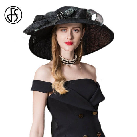 FS Vintage Black Fascinator Sinamay Church Hats Women Elegant Lady Large Wide Brim Linen Kentucky Derby Fedoras With Flower
