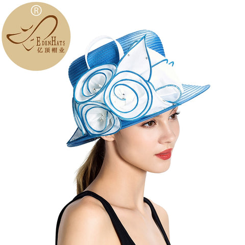 High Quality Women Hats With Large Flower Trim Kentucky Derby Hat Womens Knit Formal Church Visor S10-4270