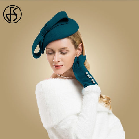 FS Winter Wool Fascinator Pillbox Hat Elegant Women Wedding Hats Black Blue Red Lady Bowknot Kentucky Derby Felt Fedoras Chapeau