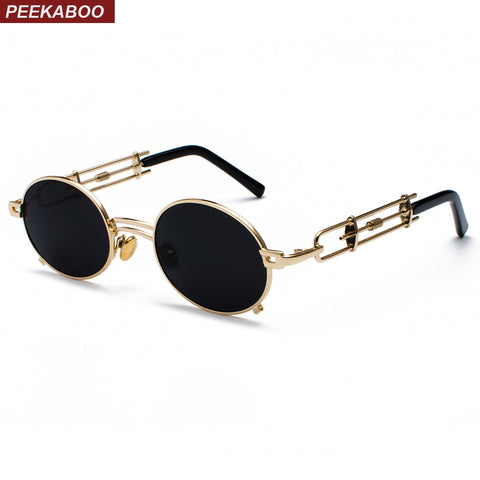 Peekaboo retro steampunk sunglasses men round vintage 2019 metal frame gold black oval sun glasses for women red male gift