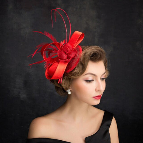 Fascinators Hat Women Elegant Weddings Big Kentucky Derby Cocktail Hats Sinamay Ladies Flowers Vintage Church Fedoras M102