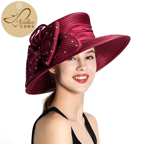 Hot Selling Satin Ladies Formal Hat with Bowknot Kentucky Derby Hat Wedding Hat S10-2123