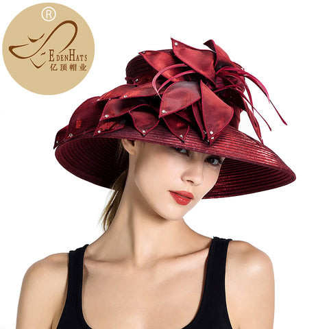 Kentucky Derby Hat Womens Knit Formal Church Visor Dark Grey Hat Braided Hat and Races PP hatS10-4269
