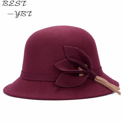 Hot  New Vogue Ladies Women Girls  Flowers Hats Trendy Derby Wool Bowler Fall Winter Warm Lovers Fedoras  chapeau femme