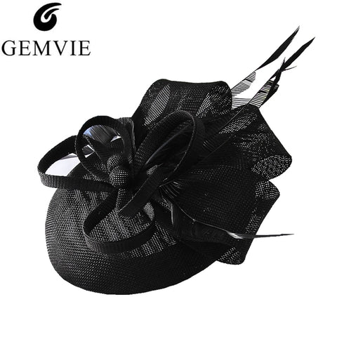GEMVIE Women Elegant Flower Feather Fascinator Hat Cocktail Cap Lady Wedding Party Church Pillbox Hat Fedora Hair Accessories