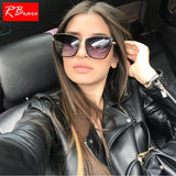 RBRARE Alloy Cat Eye Sunglasses Women  Gradient Lens Sun Glasses Vintage Metal Oculos Feminino Travel Driving Gafas De Sol