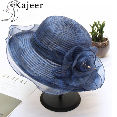 Kajeer 2019 New Summer Hats For Women Floral Pearl Wedding Fedoras Formal Kentucky Derby Hats Wide Brim Sunhat Beach Church Hat