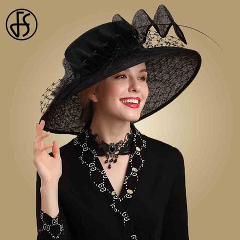 FS Vintage Big Brim Sinamay Hat For Women Black Fascinator Wedding Kentucky Derby Dresses Church Hats Veil Fedora Tea Party Hats