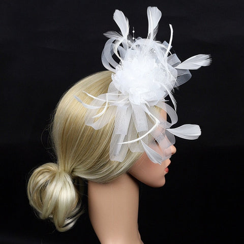 Cocktail Derby Day Feather Mesh Banquet Church Bridal Bowknot Fedoras Gift Fascinator Headband Party Hat Wedding Women