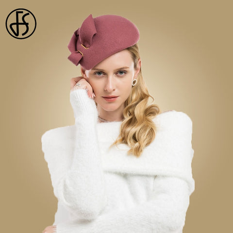 FS Wool Kentucky Derby Hats For Women Elegant Felt Fascinators Weddings Dress Pink Cocktail Pillbox Hat Bow Ladies Church Fedora