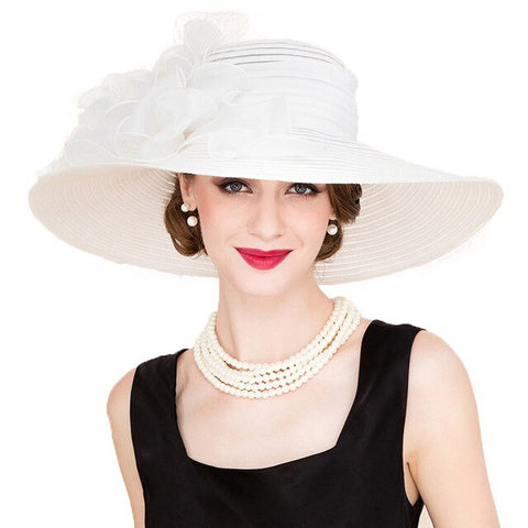 Black White Elegant Women Church Hats For Ladies Summer Flowers Large Brim Organza Hat Beach Sun Kentucky Derby Hat Fedora