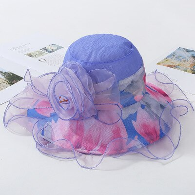 2019 New Fashion Women Floral Church Hat Wide Brim Kentucky Derby Cotton Hats Summer Beach Sunhat Wedding Caps Sun Protection