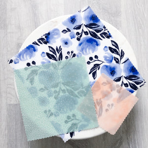 Porcelain Floral Beeswax Wraps - Set of 3
