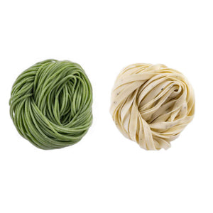 Fresh Pasta Bundle: Spinach Spaghetti and Roasted Garlic Rosemary Fettuccine