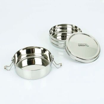 Chapra Two Tier Round Stainless Steel Lunch box - Ecoanniepooh