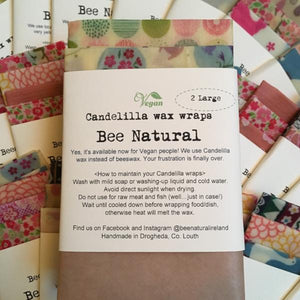 Bee Natural Candelilla Wax Wraps 2 pack - Ecoanniepooh