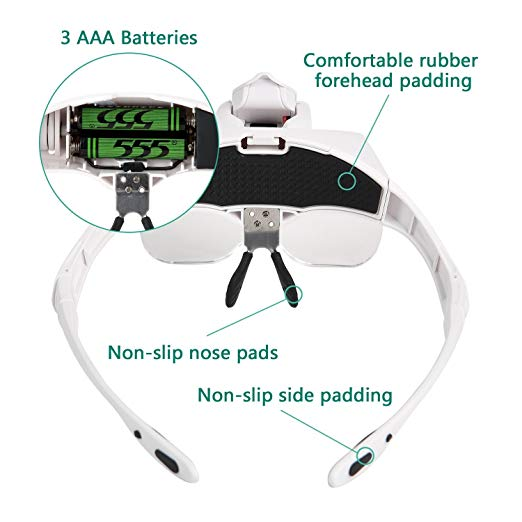 5 Lens Adjustable Loupe Headband Magnifying Glass