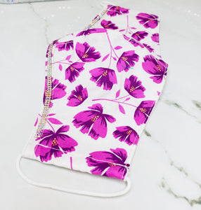 "SHINE- Special Designs-Reusable Protection Face Mask- ""Purple Florals"""