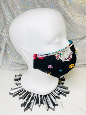 "SHINE- Special Designs-Reusable Protection Face Mask- ""Black Day Of The Dead"""