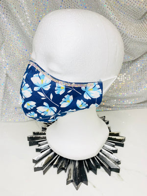 "SHINE- Special Designs-Reusable Protection Face Mask- ""Blue Florals"""