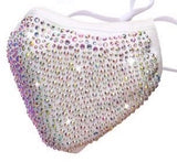 SHINE - Full Bling Crystal ~ Reusable Face Mask Protection 6 Colors available (Black AB, Black Black, Pink, Light Blue & Grey)