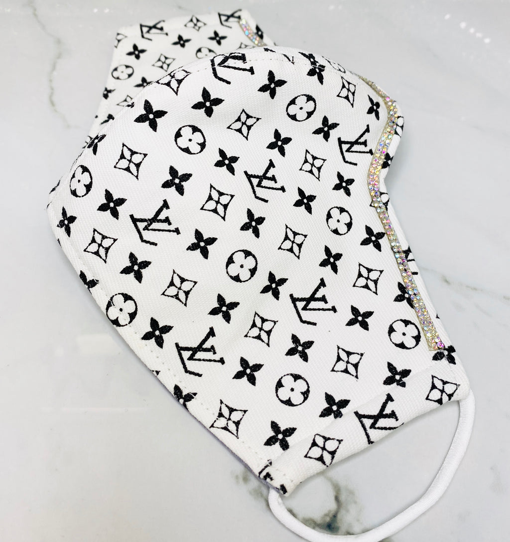 "SHINE- Limited Edition -Reusable Protection Face Mask- ""White & Black LV Logo"""
