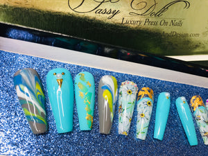 "SHINE & GO- ""Sassy Doll"" - #208- Press On Nails Custom Tips"