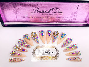 "SHINE & GO- ""Bombshell Diva"" - #402- CUSTOM Press On Nails"