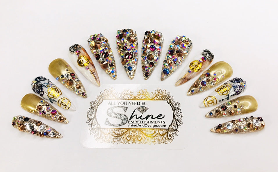 "SHINE & GO- ""Glamour Queen"" - #303- Press On Nails ""LIMITED EDITION @Premadonna87"""