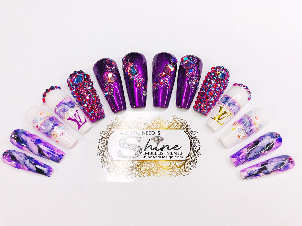 "SHINE & GO- ""Glamour Queen"" - #302- Press On Nails"