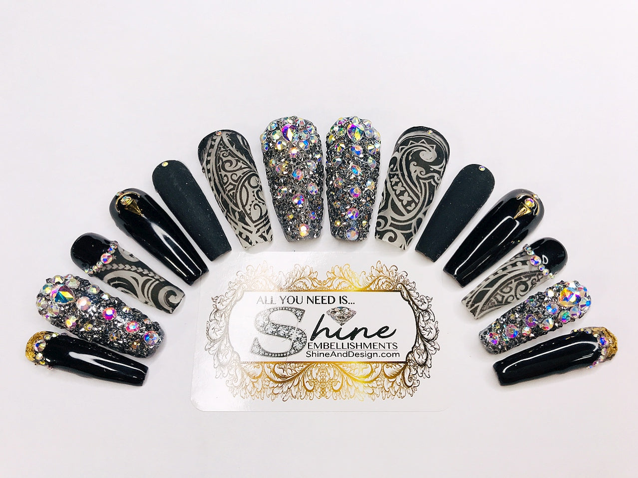"SHINE & GO- ""Glamour Queen"" - #307- Press On Nails"