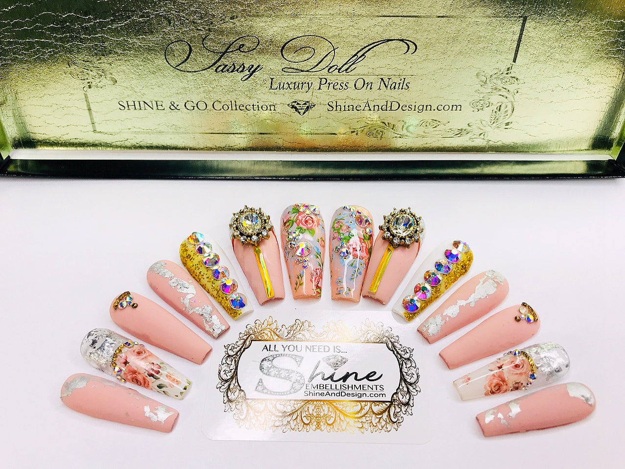 "SHINE & GO- ""Sassy Doll"" - #205- Press On Nails"