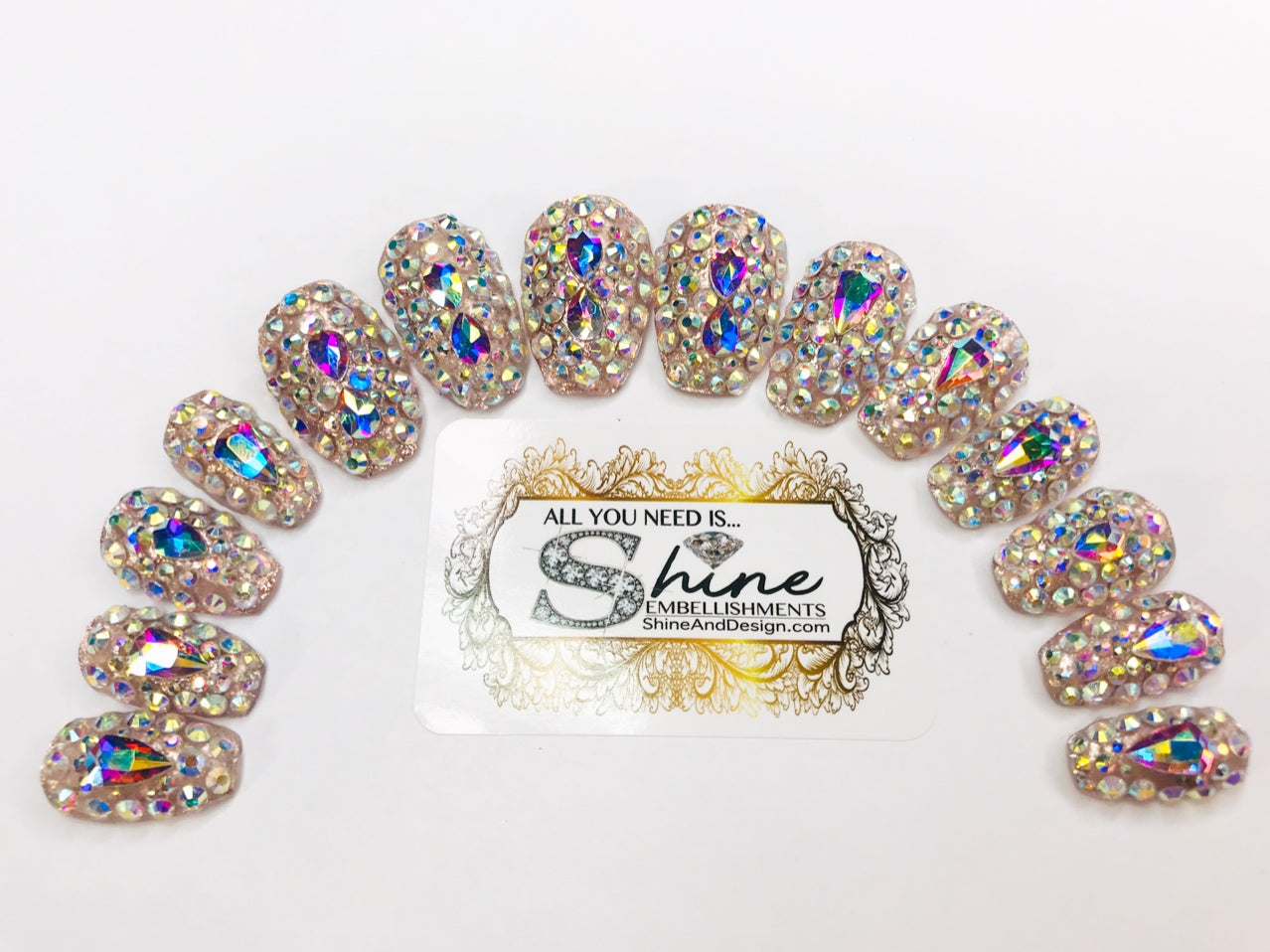 "SHINE & GO- ""GLAMOUR QUEEN"" - #312-CUSTOM Press On Nails"