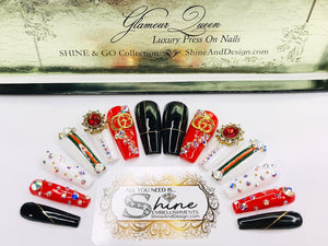 "SHINE & GO- ""Glamour Queen"" - #301- Press On Nails"