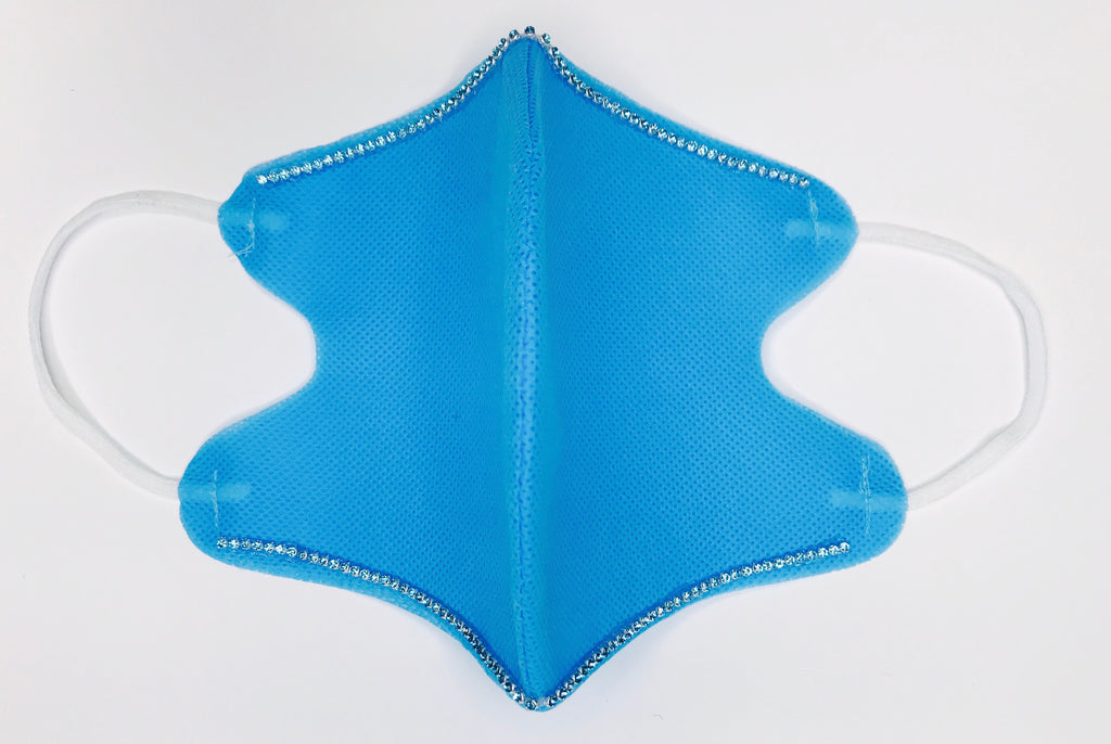 SHINE- Double Blue 100% Crystals Edition -Reusable Face Mask Protection (Light Blue)