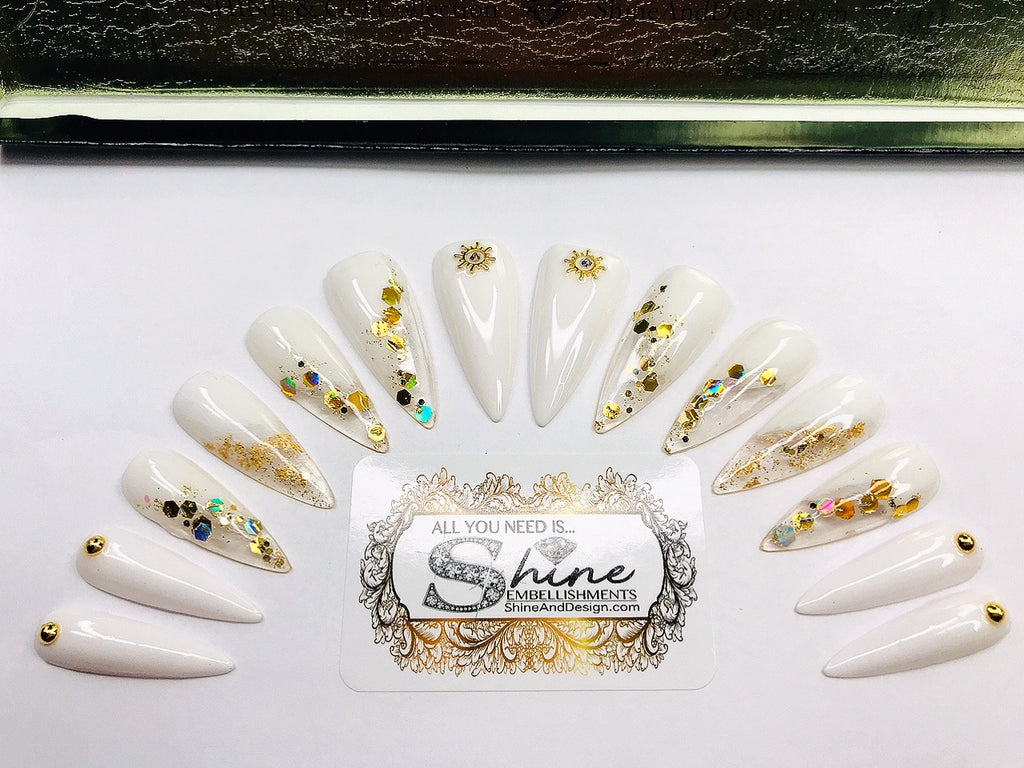 "SHINE & GO- ""Sassy Doll"" - #209- Press On Nails Custom Tips"