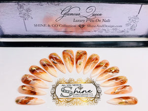 "SHINE & GO- ""Glamour Queen"" - #322 CUSTOM DESIGN SET -Press On Nails"