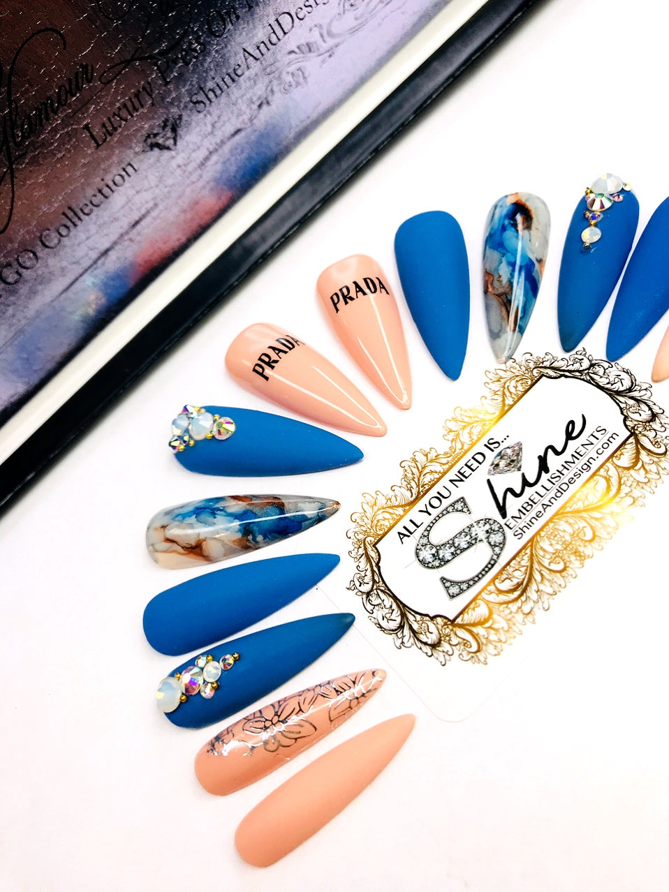 "SHINE & GO- ""Glamour Queen""- #319 CUSTOM DESIGN SET-Press On Nails"