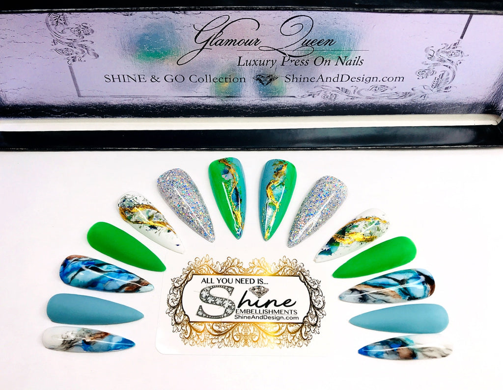 "SHINE & GO- ""Glamour Queen""- #318 CUSTOM DESIGN SET-Press On Nails"