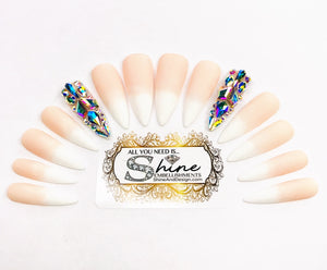 "SHINE & GO- ""Glamour Queen""- #321 CUSTOM DESIGN SET-Press On Nails"