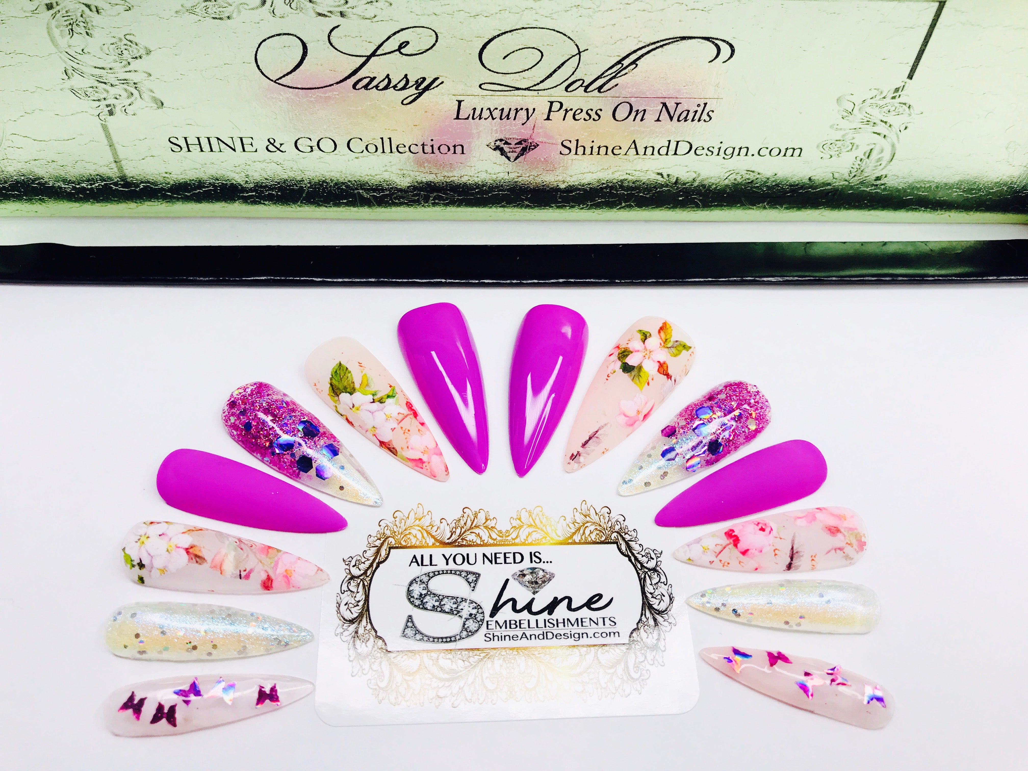 "SHINE & GO- ""Sassy Doll"" - #255-CUSTOM DESIGN SET -Press On Nails"