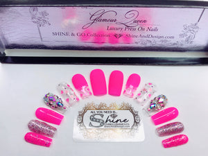 "SHINE & GO- ""Glamour Queen"" - #325 CUSTOM DESIGN SET -Press On Nails"