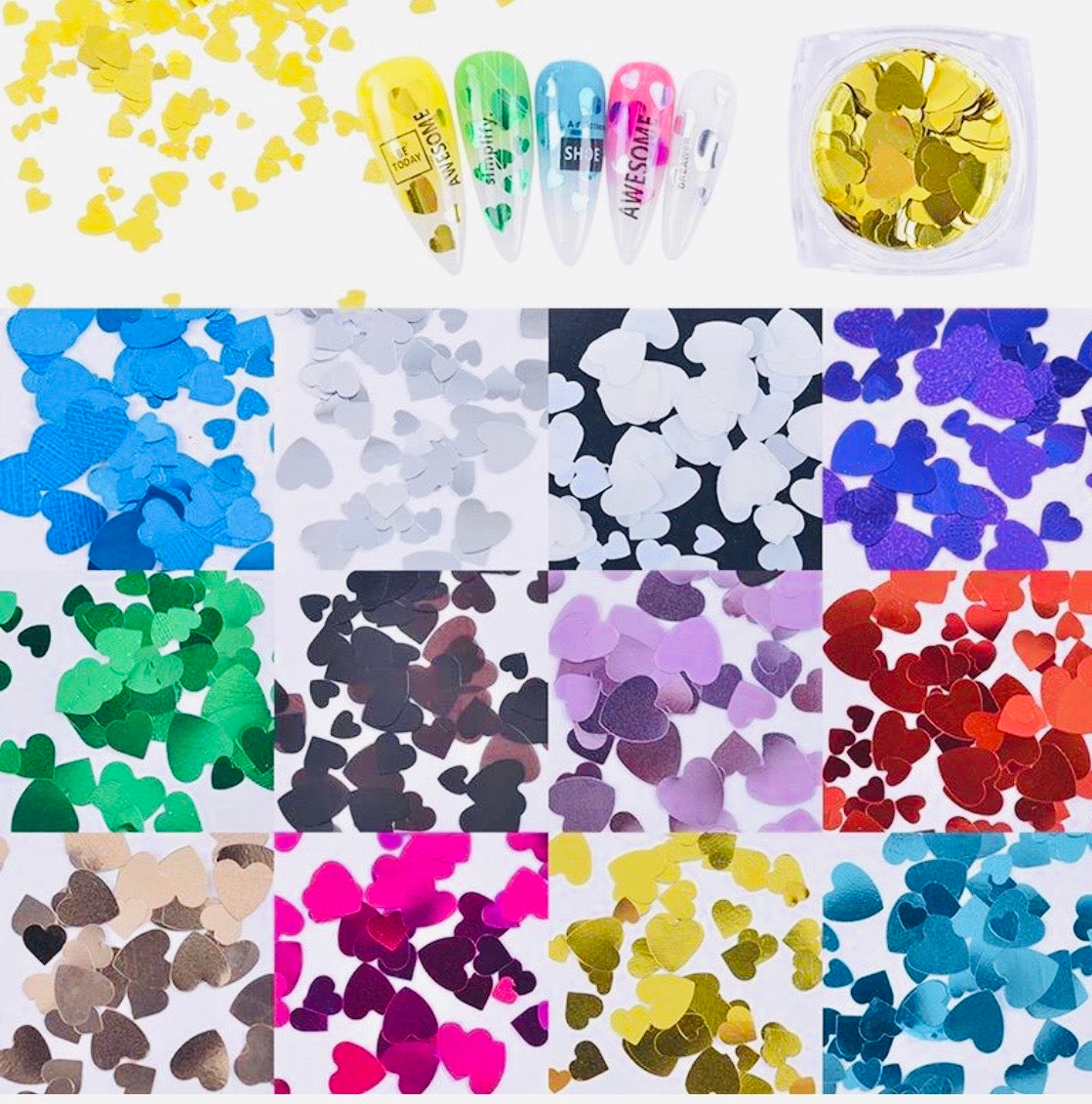 SHINE- SEQUIN GLITTER CHROME Mix Sizes Hearts - 12 Colors Set