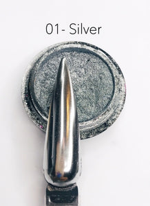 SHINE- 100% Pigment Chrome- Mirror Nail Powder #01- Silver